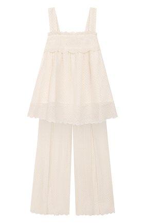 Детский комплект из топа и брюк TWINSET бежевого цвета, арт. 201GJ2QB1/12A-16A | Фото 1