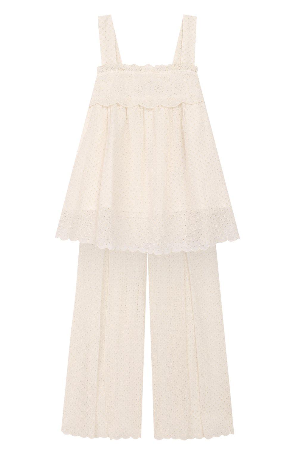 Детский комплект из топа и брюк TWINSET бежевого цвета, арт. 201GJ2QB1/6A-10A | Фото 1