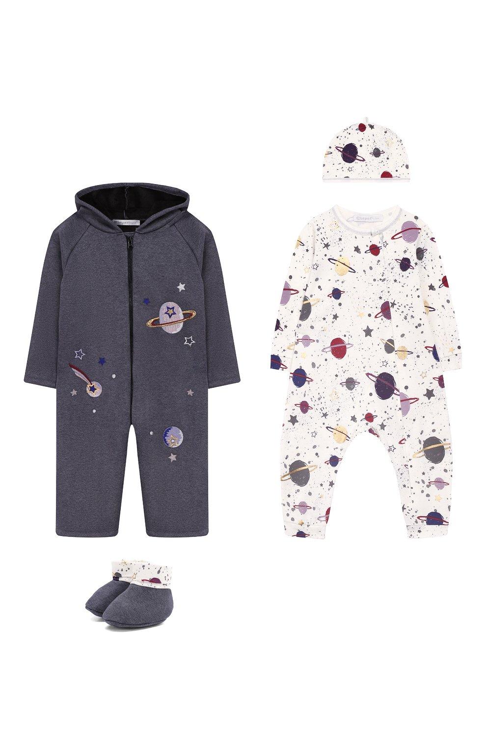 Детского комплект из 4-х предметов галактика CHEPE темно-серого цвета, арт. 371223 | Фото 1