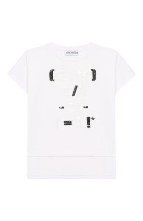 Детская хлопковая футболка SIMONETTA черно-белого цвета, арт. 1M8171/MC960/10-14+ | Фото 1
