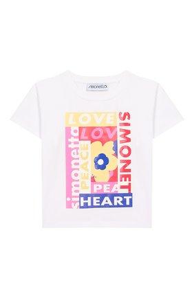 Детская хлопковая футболка SIMONETTA белого цвета, арт. 1M8181/MC960/1-4 | Фото 1