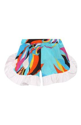 Детские хлопковые шорты EMILIO PUCCI бирюзового цвета, арт. 9M6059/MC720/1-4 | Фото 2