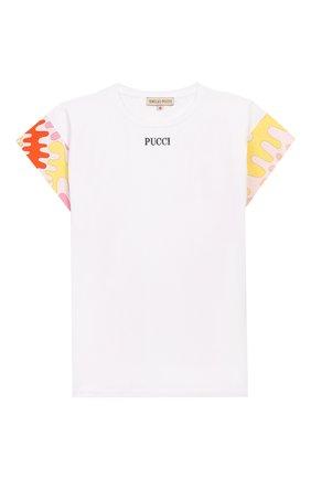 Детская хлопковая футболка EMILIO PUCCI белого цвета, арт. 9M8022/MX170/10-14 | Фото 1