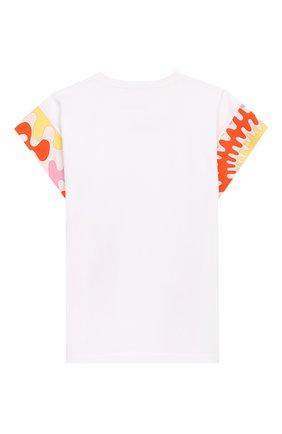 Детская хлопковая футболка EMILIO PUCCI белого цвета, арт. 9M8022/MX170/10-14 | Фото 2
