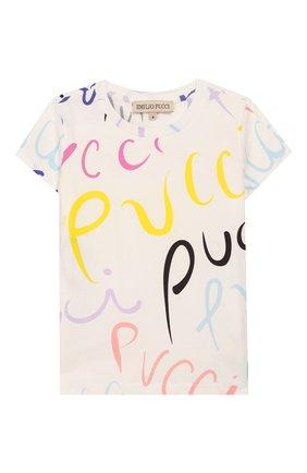 Детская хлопковая футболка EMILIO PUCCI белого цвета, арт. 9M8051/MC780/1-4 | Фото 1