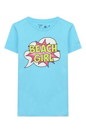 Детская хлопковая футболка MC2 SAINT BARTH голубого цвета, арт. STBK ELLY/ELLY001 | Фото 1