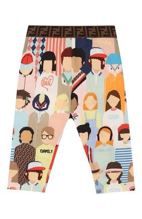Детские хлопковые брюки FENDI разноцветного цвета, арт. BFF131/AAD3/3M-9M   Фото 1
