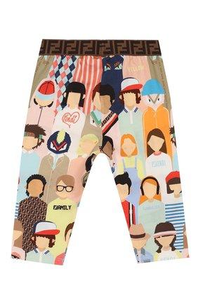 Детские хлопковые брюки FENDI разноцветного цвета, арт. BFF131/AAD3/3M-9M   Фото 2