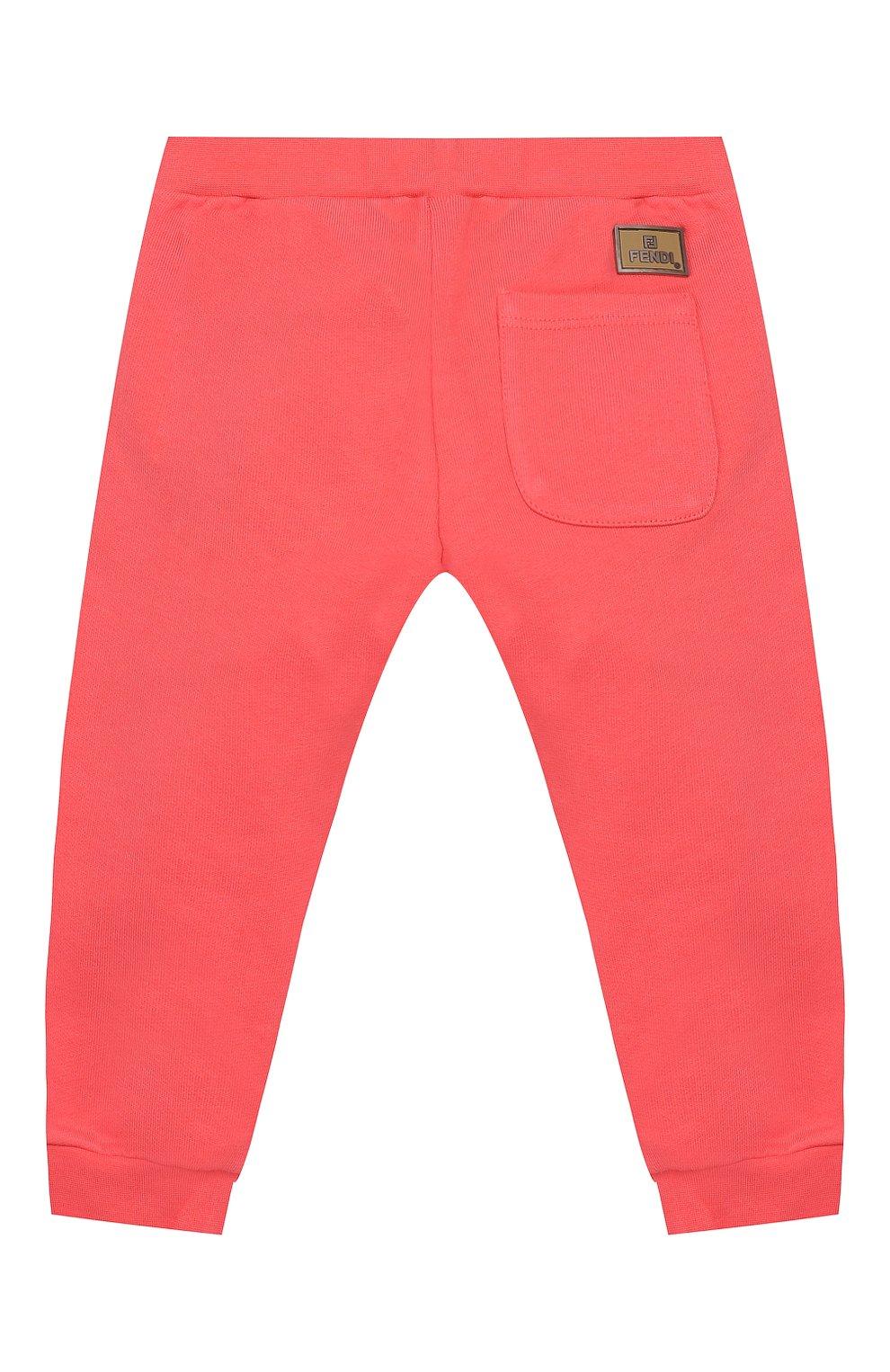 Детские хлопковые брюки FENDI кораллового цвета, арт. BFF130/5V0/12M-24M | Фото 2