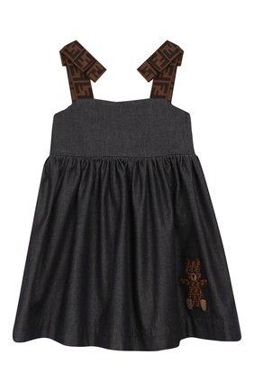 Женский хлопковое платье FENDI синего цвета, арт. BFB303/A7LW/12M-24M | Фото 1