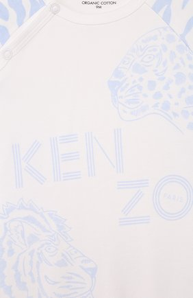 Детский комплект из комбинезона и шапки KENZO белого цвета, арт. KQ99513 | Фото 6