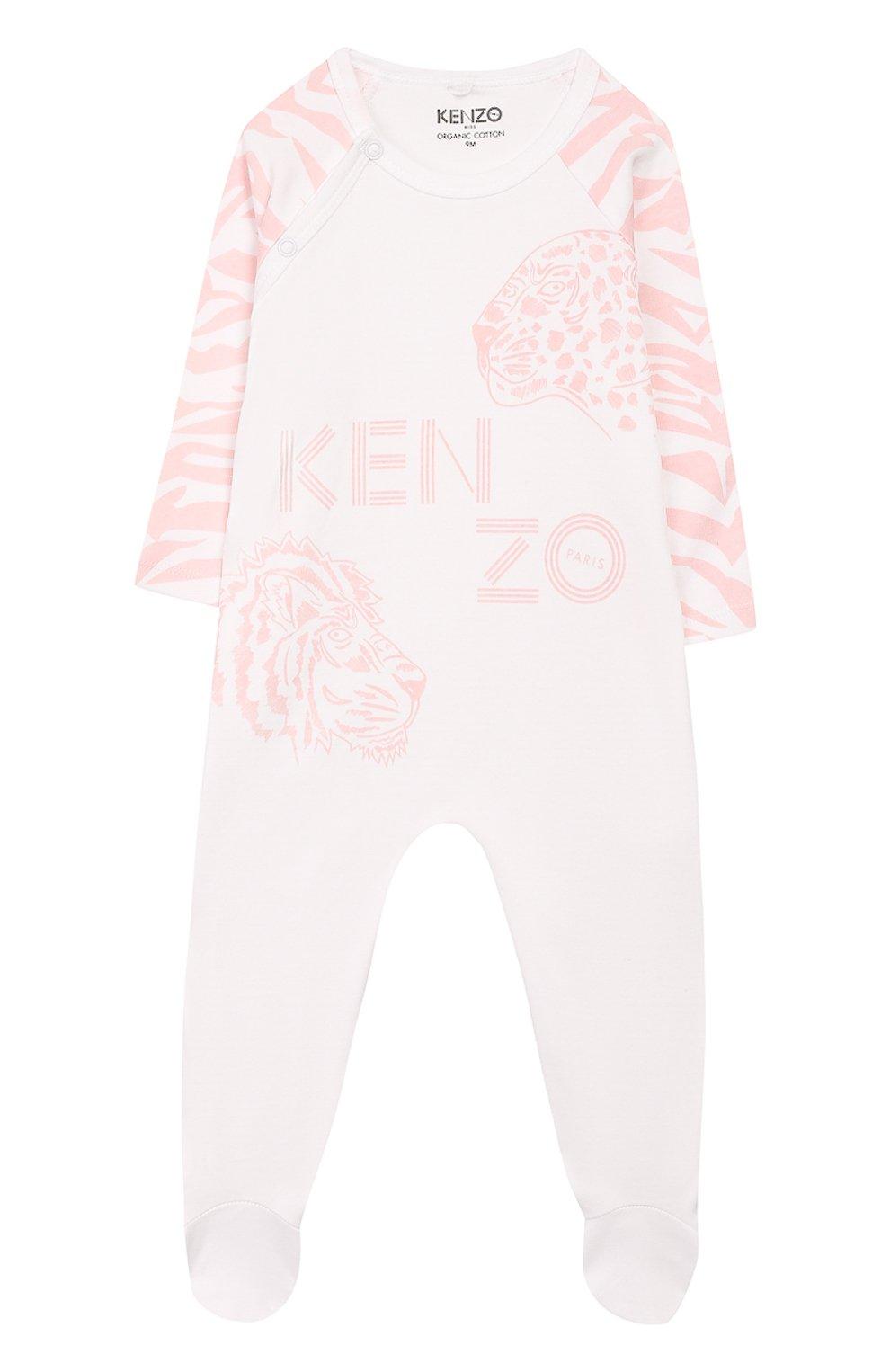 Детский комплект из комбинезона и шапки KENZO белого цвета, арт. KQ99013 | Фото 2