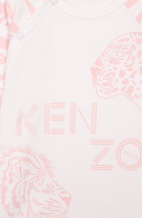 Детский комплект из комбинезона и шапки KENZO белого цвета, арт. KQ99013 | Фото 6