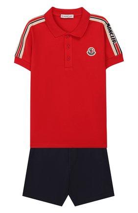 Детский комплект из поло и шорт MONCLER красного цвета, арт. F1-951-8M706-20-8496F | Фото 1