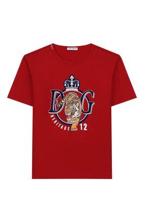 Детская хлопковая футболка DOLCE & GABBANA красного цвета, арт. L4JTAU/G7VZV/2-6 | Фото 1