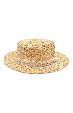 Детская соломенная шляпа DESIGNERS CAT бежевого цвета, арт. 100000K01000442/56-58 | Фото 1