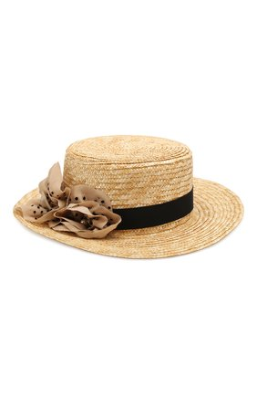 Детская соломенная шляпа DESIGNERS CAT черного цвета, арт. 100000K01000436/56-58 | Фото 1