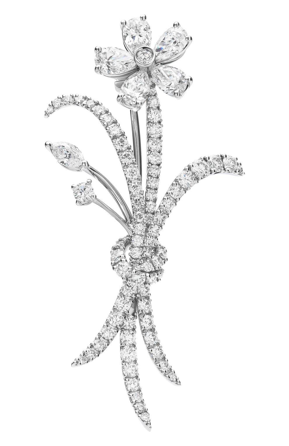 Женские брошь MERCURY бесцветного цвета, арт. MBCH24377/WG/FL | Фото 1 (Материал сплава: Белое золото; Драгоценные камни: Бриллианты)