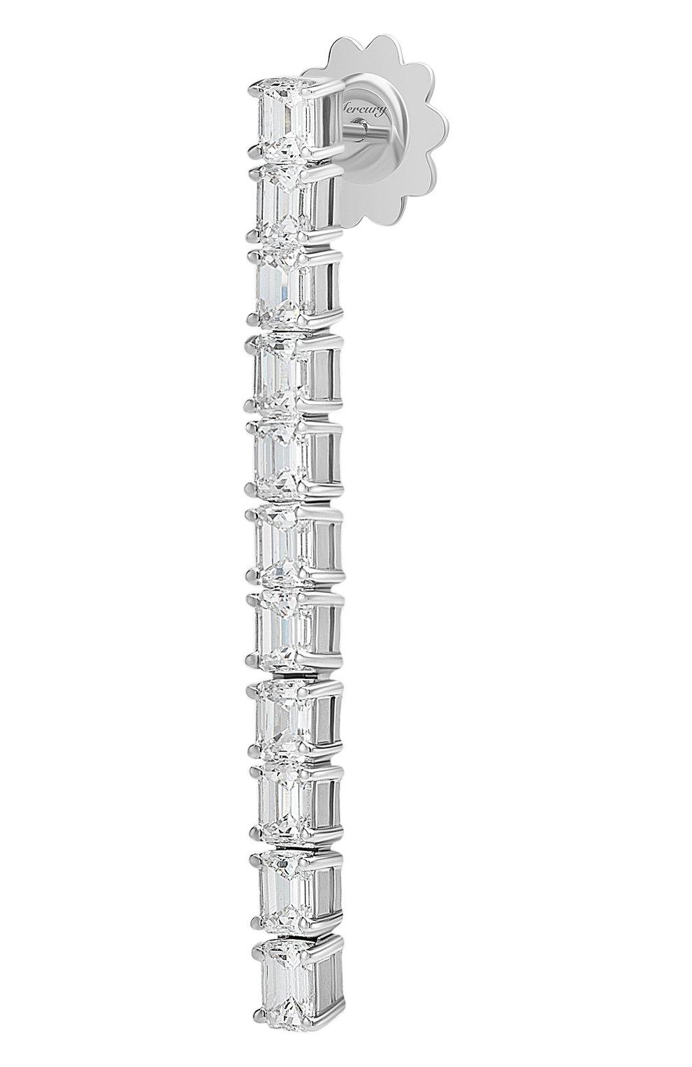 Женские серьги MERCURY бесцветного цвета, арт. ME20141/WG/STR2.00 | Фото 2 (Материал сплава: Белое золото; Драгоценные камни: Бриллианты)
