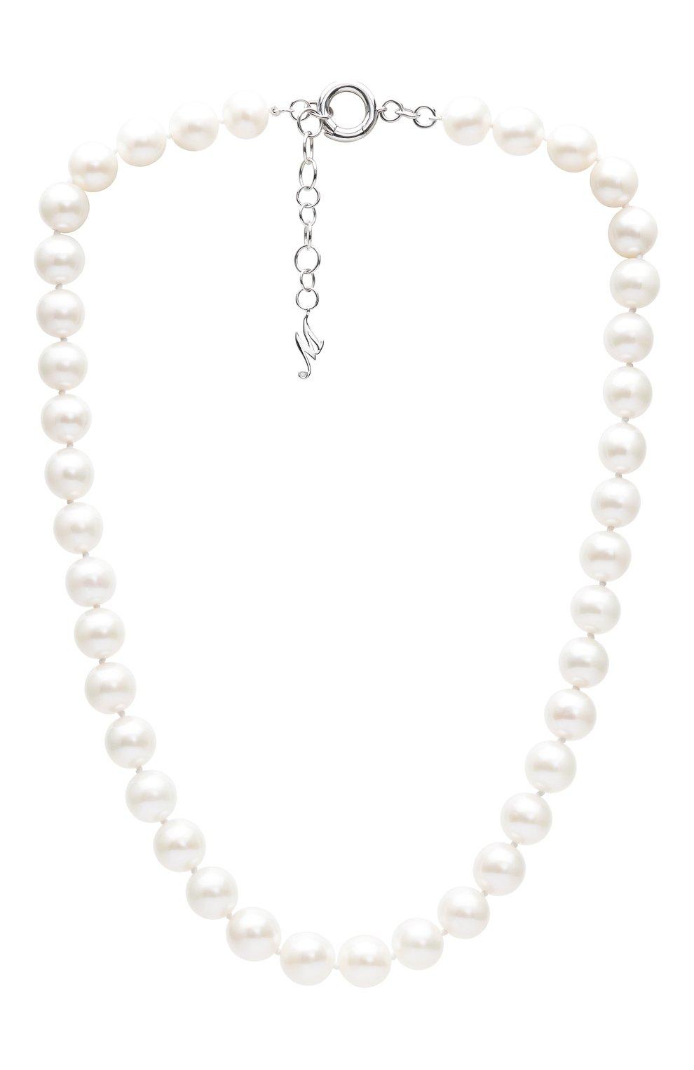Женские колье MERCURY бесцветного цвета, арт. MN25996/PRL   Фото 1 (Материал сплава: Белое золото; Драгоценные камни: Бриллианты)