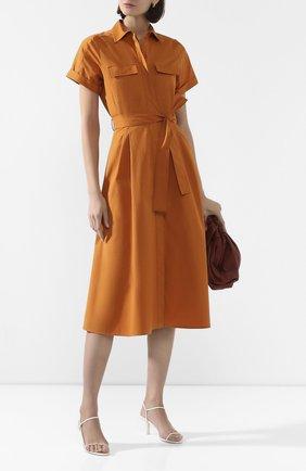 Женское хлопковое платье LORO PIANA оранжевого цвета, арт. FAL1183   Фото 2 (Материал внешний: Хлопок; Случай: Повседневный; Рукава: Короткие; Длина Ж (юбки, платья, шорты): Миди; Стили: Кэжуэл)