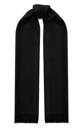 Женский шарф из смеси шелка и шерсти SAINT LAURENT синего цвета, арт. 593931/3Y600   Фото 1 (Материал: Шерсть, Шелк, Текстиль)