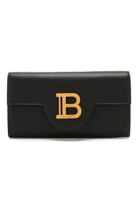 Женские кожаный кошелек на цепочке BALMAIN черного цвета, арт. TN0M045/LMJC | Фото 1