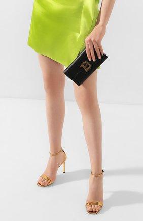 Женские кожаный кошелек на цепочке BALMAIN черного цвета, арт. TN0M045/LMJC | Фото 2