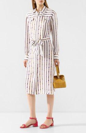 Женские кожаные босоножки STUART WEITZMAN фуксия цвета, арт. S2736 | Фото 2