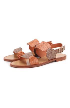 Женские сандалии из кожи аллигатора SANTONI светло-розового цвета, арт. WHLK58736HI1T0HCP40/AMIS | Фото 1