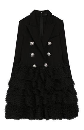 Детское платье BALMAIN черного цвета, арт. 6M1110/MB010/12-16 | Фото 1