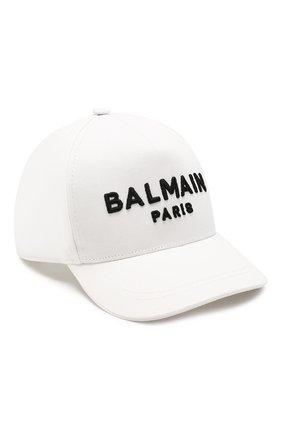 Детская хлопковая бейсболка BALMAIN белого цвета, арт. 6M0787/MX560 | Фото 1