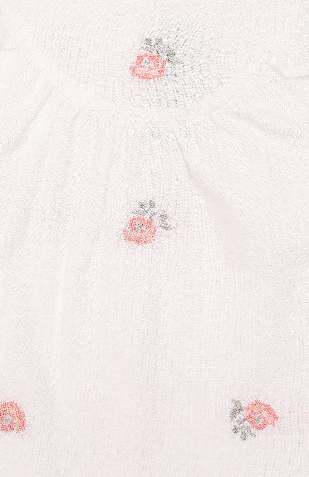 Детский хлопковый топ TARTINE ET CHOCOLAT белого цвета, арт. TQ12161/18M-3A | Фото 3
