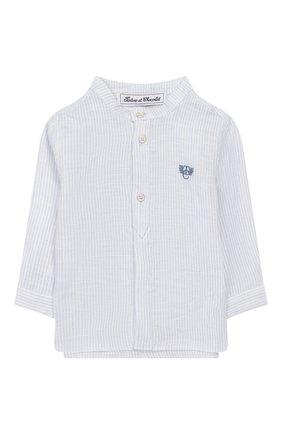 Детский льняная рубашка TARTINE ET CHOCOLAT голубого цвета, арт. TQ12141/18M-3A | Фото 1
