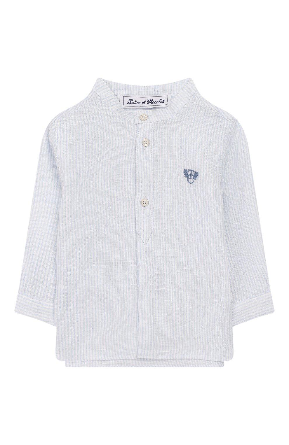 Детский льняная рубашка TARTINE ET CHOCOLAT голубого цвета, арт. TQ12141/1M-1A | Фото 1