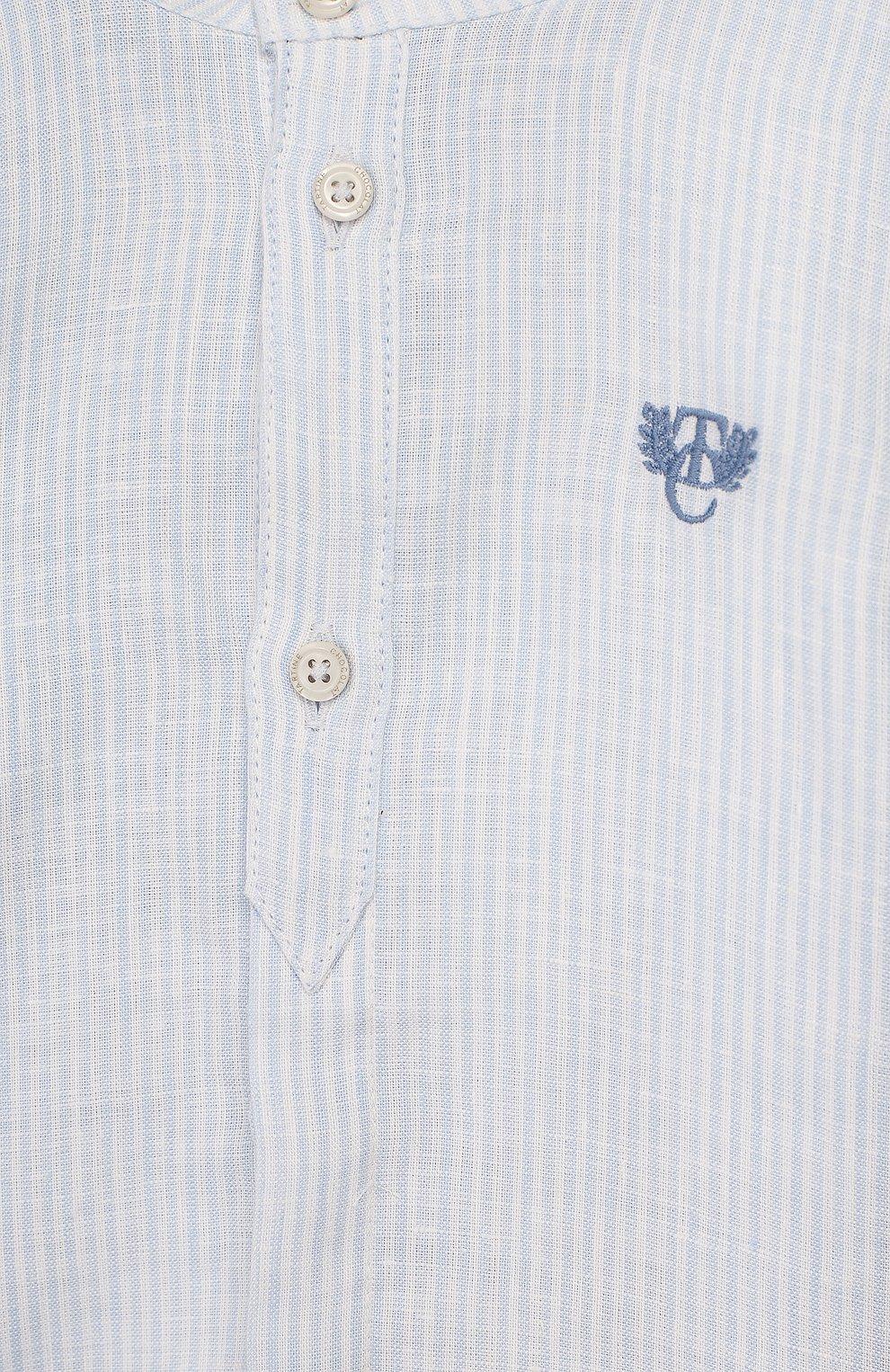 Детский льняная рубашка TARTINE ET CHOCOLAT голубого цвета, арт. TQ12141/1M-1A | Фото 3