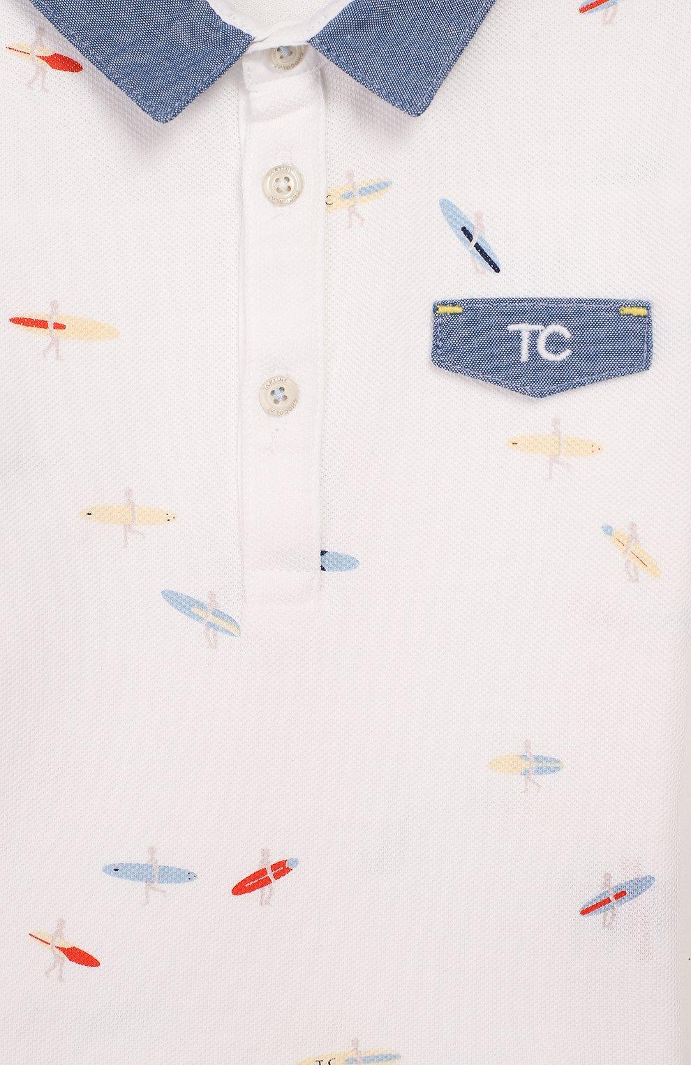Детский хлопковое поло TARTINE ET CHOCOLAT белого цвета, арт. TQ11161/1M-1A | Фото 3