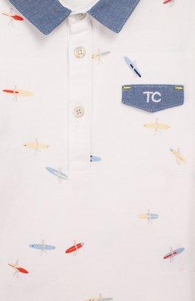 Детский хлопковое поло TARTINE ET CHOCOLAT белого цвета, арт. TQ11161/18M-3A | Фото 3