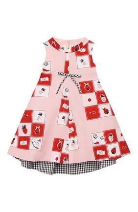 Детское хлопковое платье SIMONETTA розового цвета, арт. 1M1222/MC131/1-4 | Фото 1