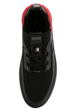 Мужские комбинированные кеды no code TOD'S черного цвета, арт. XXM14C0CM30NXI   Фото 5 (Материал внешний: Текстиль; Материал внутренний: Натуральная кожа; Подошва: Массивная)