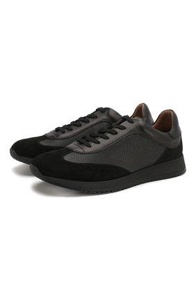 Мужские кожаные кроссовки GIANVITO ROSSI черного цвета, арт. S25076.M1BLK.SBFNENN | Фото 1