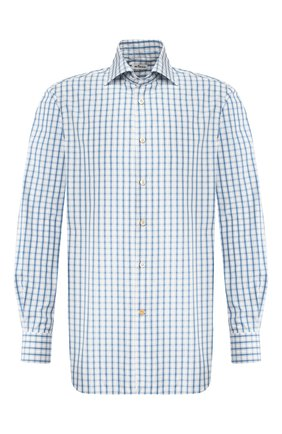 Мужская хлопковая рубашка KITON синего цвета, арт. UCIH0730916   Фото 1