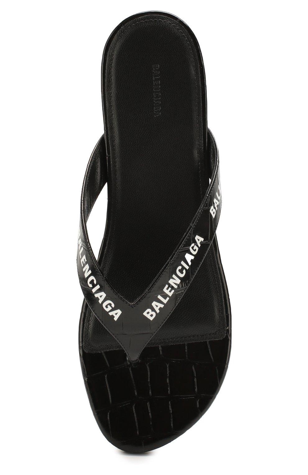 Женские кожаные шлепанцы round BALENCIAGA черно-белого цвета, арт. 613845/WA9D5 | Фото 5