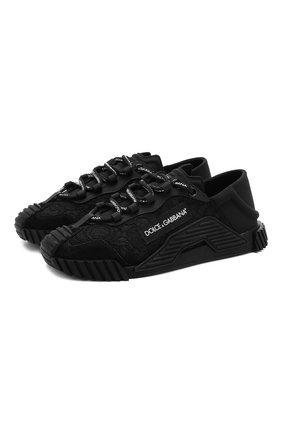 Женские комбинированные кроссовки ns1 DOLCE & GABBANA черного цвета, арт. CK1754/AX372 | Фото 1 (Материал внутренний: Текстиль, Натуральная кожа; Подошва: Платформа; Материал внешний: Текстиль)