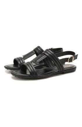 Женские кожаные сандалии TOD'S черного цвета, арт. XXW00V0CS00MID   Фото 1