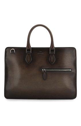 Мужской кожаный портфель BERLUTI темно-коричневого цвета, арт. M196062   Фото 1
