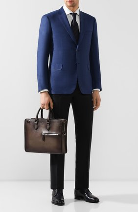 Мужской кожаный портфель BERLUTI темно-коричневого цвета, арт. M196062   Фото 2