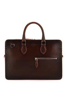 Мужской кожаный портфель BERLUTI коричневого цвета, арт. M202351   Фото 1