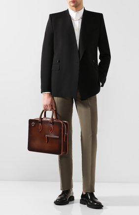 Мужской кожаный портфель BERLUTI коричневого цвета, арт. M202351   Фото 2