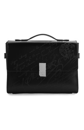 Мужской кожаный портфель BERLUTI черного цвета, арт. M204271 | Фото 1